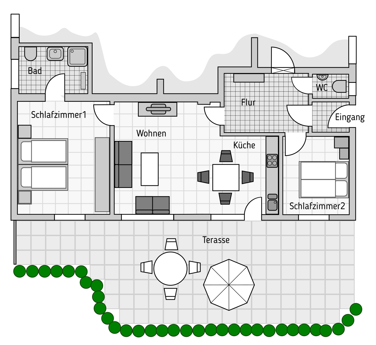 Floor Plan Holiday Home with terrace